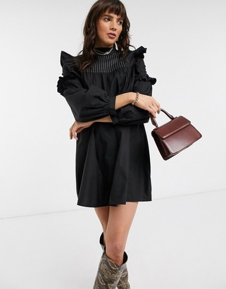 Topshop frill detail mini dress in black