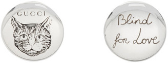 Gucci Silver Blind For Love Stud Earrings