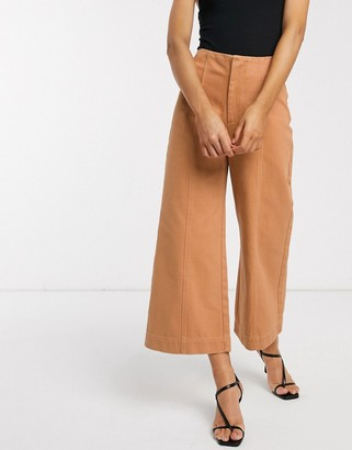 ASOS DESIGN minimal cropped wide leg jeans with seam details in clay