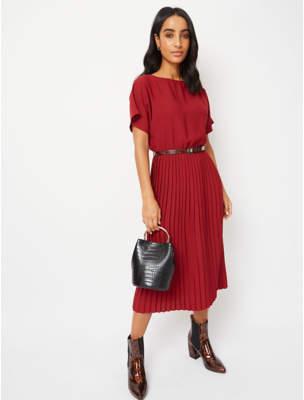 George Dark Red Pleated Midi Dress