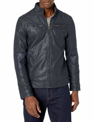 X-Ray Mens Slim Fit Over Washed Quilted Faux Leather Moto Jacket