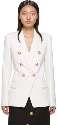 Balmain White Wool Double-Breasted Blazer