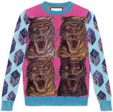 Gucci Tiger intarsia viscose lurex sweater