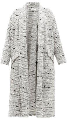 Etoile Isabel Marant Faby Waterfall-collar Slubbed-boucle Coat - Womens - Light Grey