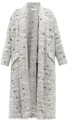 Etoile Isabel Marant Faby Waterfall Collar Slubbed Boucle Coat - Womens - Light Grey