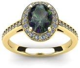 FireFacet 1 3/4 CT TW Oval-Cut Mystic Topaz and Diamond 14K Gold Halo Ring