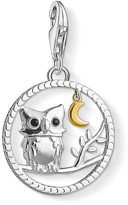 Thomas Sabo Ladies Charm Night Owl 925 Sterling Silver 750er Yellow Gold Gilt Black Enameled 1392-427-11