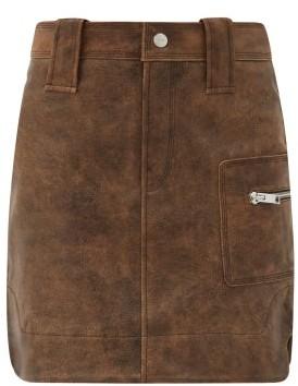 Ganni High-rise Leather Skirt - Brown