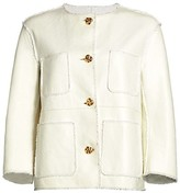Thumbnail for your product : St. John Leather Bonded Basketweave Tweed Patch Pocket Jacket