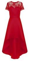 Dorothy Perkins Womens Chi Chi London Red Lace Detail Dip Hem Skater Dress, Red