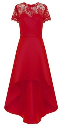 Dorothy Perkins Womens *Chi Chi London Red Lace Detail Dip Hem Skater Dress, Red