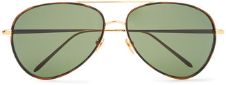 Linda Farrow Aviator-style Gold-tone And Tortoiseshell Acetate Sunglasses