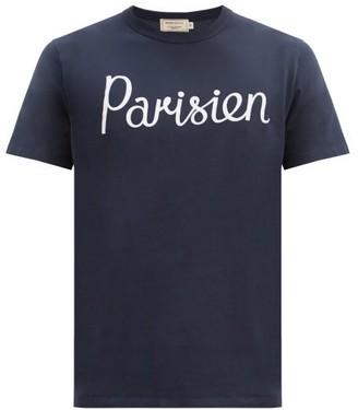 MAISON KITSUNÉ Parisien-print Cotton-jersey T-shirt - Navy