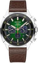 Seiko Men's Solar Chronograph Recraft Brown Leather Strap Watch 43mm SSC513