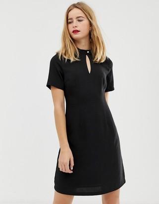 Selected high neck button detail skater dress-Black