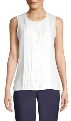Karl Lagerfeld Paris Sleeveless Buttoned Pleat-Front Top