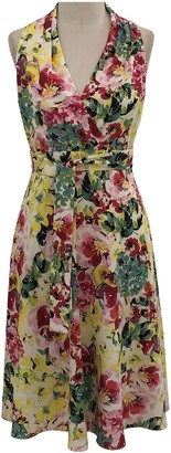 London Times Floral Halter Wrap Bodice Sleeveless Dress (Plus Size)