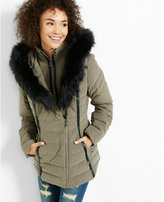 Express hooded (Minus the) leather trim puffer coat