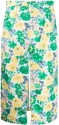 Plan C Floral-Print Midi Skirt