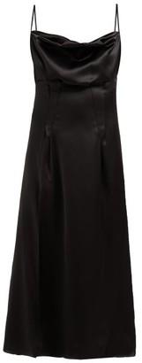 Versace Cowl-neck Silk-satin Slip Dress - Black