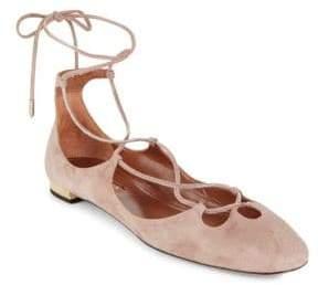 Aquazzura Textured Leather Dancer Flats