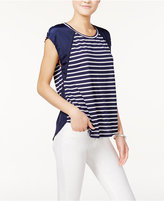 Maison Jules Striped Short-Sleeve Top, Only at Macy's