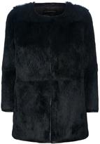 Inès & Marèchal rabbit fur cropped sleeve coat