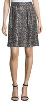 St. John Painted Metallic Knit Skirt, Caviar