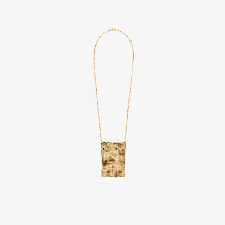Paco Rabanne Gold Tone Mesh Pendant Necklace