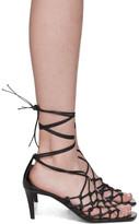 Stella McCartney Black Faux-Leather Wraparound Heeled Sandals