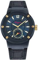 Salvatore Ferragamo F-80 Croc-Embossed Smart Watch, Blue