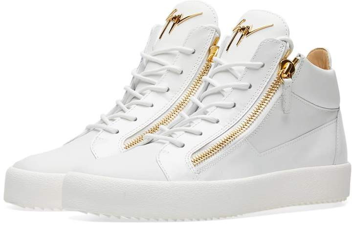 Giuseppe Zanotti Double Zip Leather Mid Sneaker