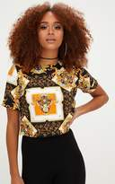 PrettyLittleThing Black Chain Print Crop T Shirt