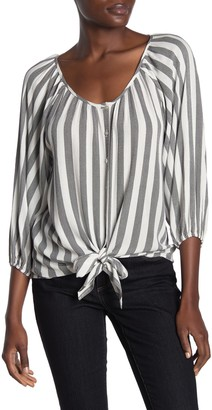 Chenault Striped Quarter Sleeve Tie Front Top