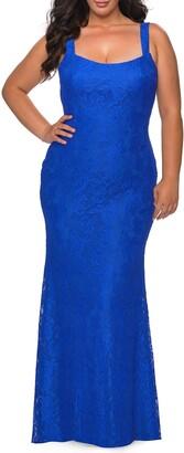 La Femme Back Cutout Lace Trumpet Gown