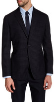 Zanetti Black Charcoal Windowpane Two Button Notch Lapel Wool Modern Fit Sport Coat