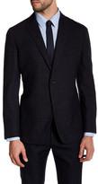 Zanetti Black Charcoal Windowpane Two Button Notch Lapel Wool Modern Fit Sport Coat