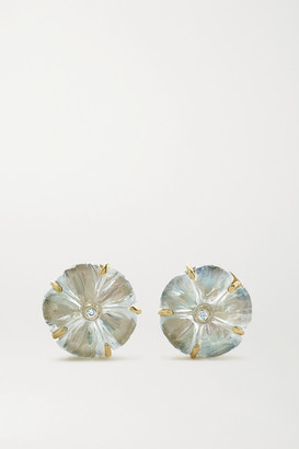 Brooke Gregson Blossom 18-karat Gold, Moonstone And Diamond Earrings - One size