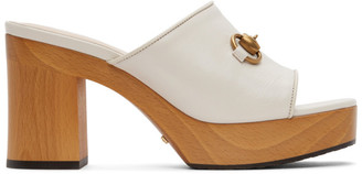 Gucci White Houdan Block Heeled Mules