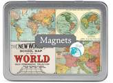 Cavallini & Co. Magnet Set Vintage Maps, 24-Assorted Magnets Packaged in A Tin