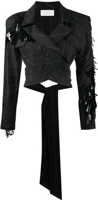 Loulou Embroidered Wrap Blazer