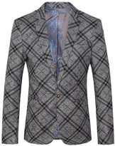 Ouye Men's Slim Fit Single Breasted Checked Blazer 2X-Large
