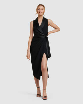 Forever New Rowena Tuxedo Satin Midi Dress
