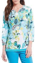 Allison Daley Petites Notch V-Neck Floral Paisley Print Tunic
