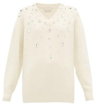 Christopher Kane Crystal-embellished Cashmere-blend Sweater - Womens - Cream