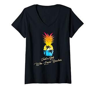 Womens Juts a Girl Who Loves Beaches - Pineapple Summer Vacation V-Neck T-Shirt