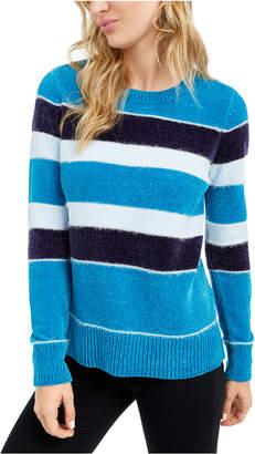 Maison Jules Striped Metallic Chenille Sweater