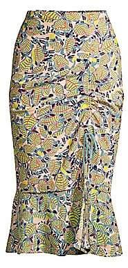 Saloni Women's Olga Botanical Print Midi Skirt - Size 0