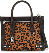 Ash Courtney Calf-Hair/Leather Satchel Bag, Black/Leopard