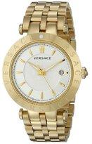 Versace Men's VQP050015 V-Race 42mm 3 Hands Analog Display Swiss Quartz Gold Watch